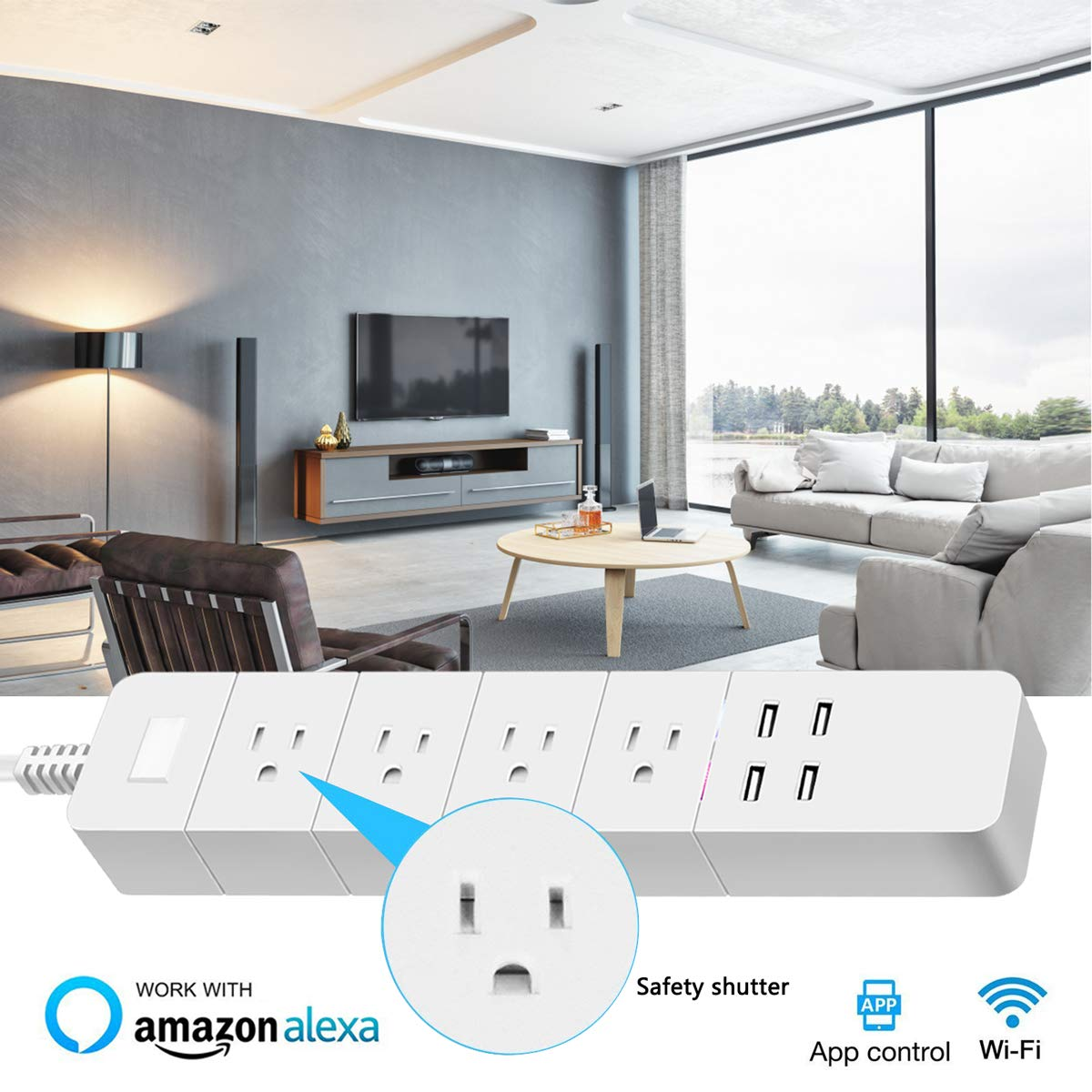 WiFi Smart Power Strip, Imoli Surge Protector Multi Outlet with 4 AC Plugs and 4 USB Charging Ports, Timer Remotely Control Individually Voice Controlled by Alexa Echo and Google Home(White)
