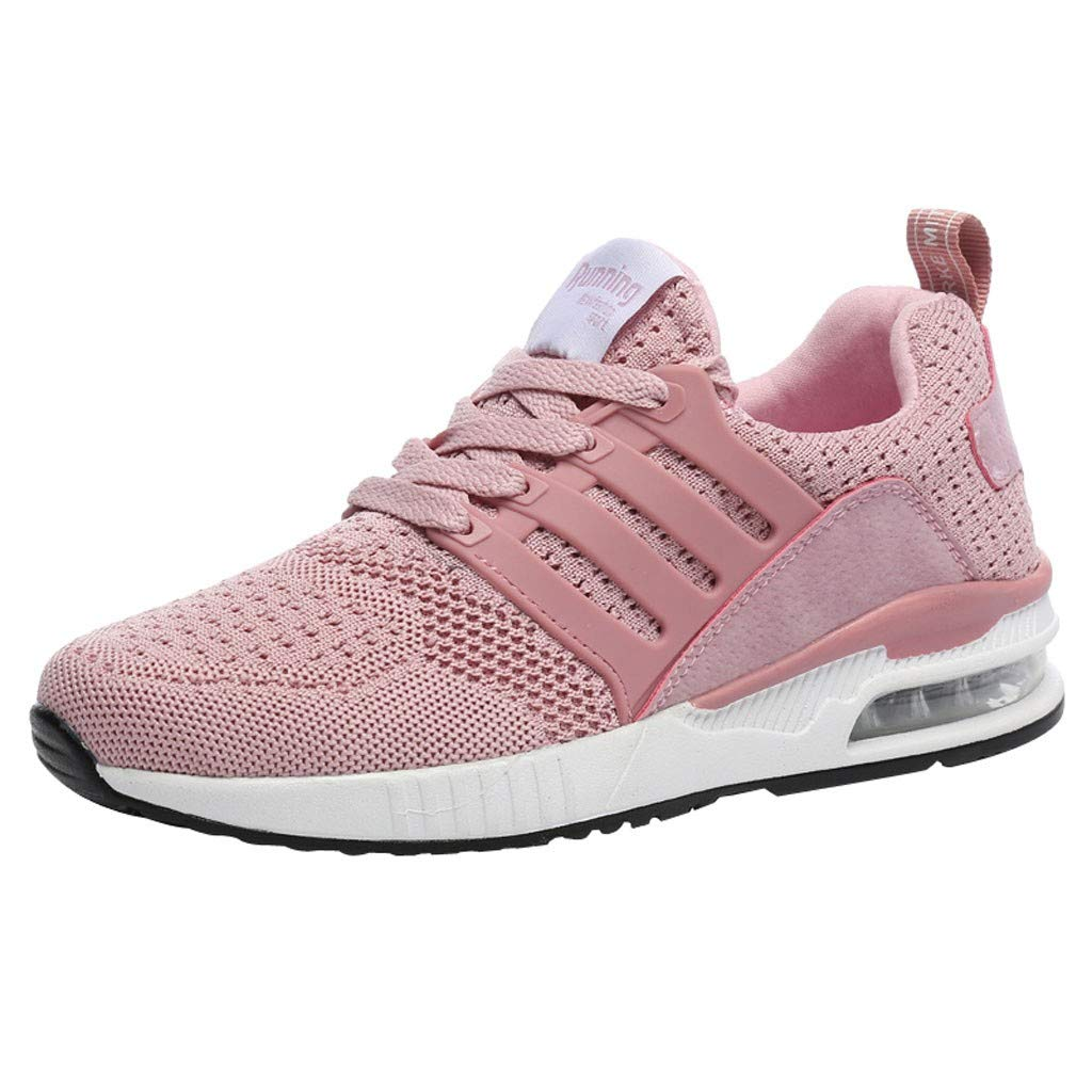 SSYongxia Lover Unisex Breathable Cushion Walking Shoes Lightweight Platform Sneakers Comfortable Runing Work Sneakers Pink