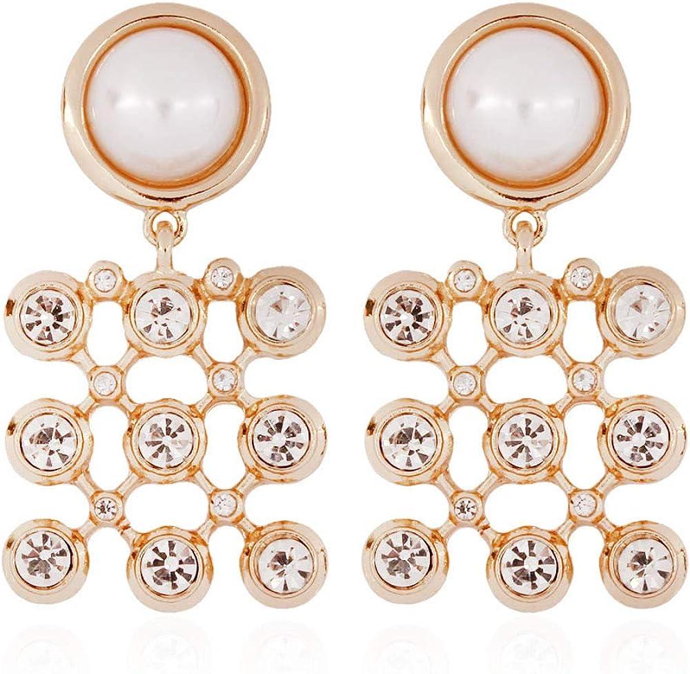 MKmd-s Pendientes Personalizados exquisitos, Elegantes Pendientes con Perlas de imitación, bellamente formados para hacerte más Blanco Brillante