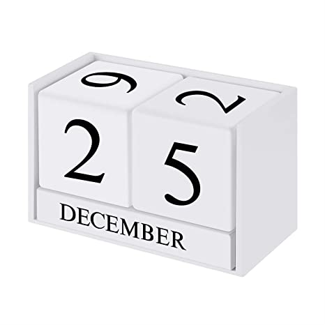 Vosarea Wooden Perpetual Desk Calendar Blocks Vintage Month Date Table Accessory for Home Office Decoration White