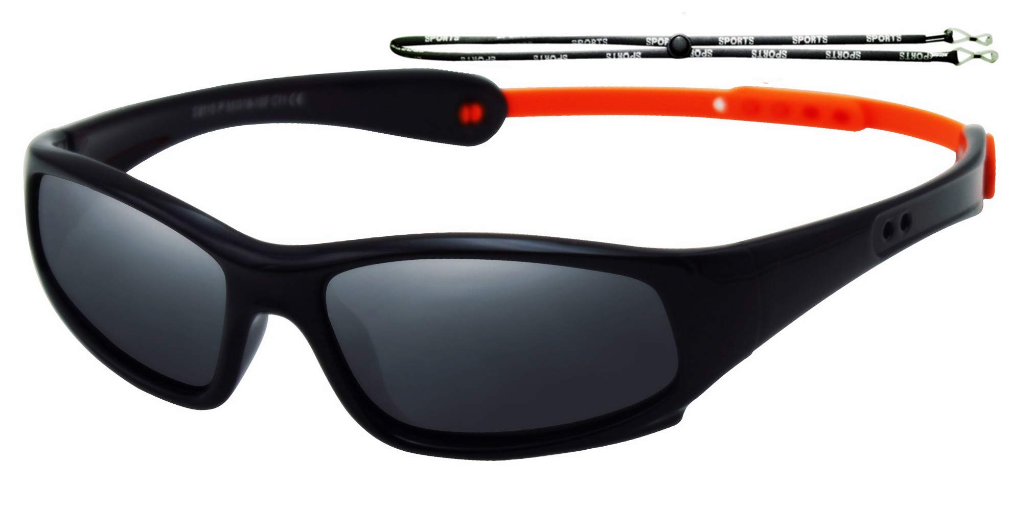 COOLSOME Flexible Rubber Kids Polarized UV Protection Sunglasses for Boys Girls 2-7 Years Old (black)