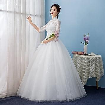 Desconocido Vestido de novia de novia largo y largo Collar de cuello delgado Vestido de novia