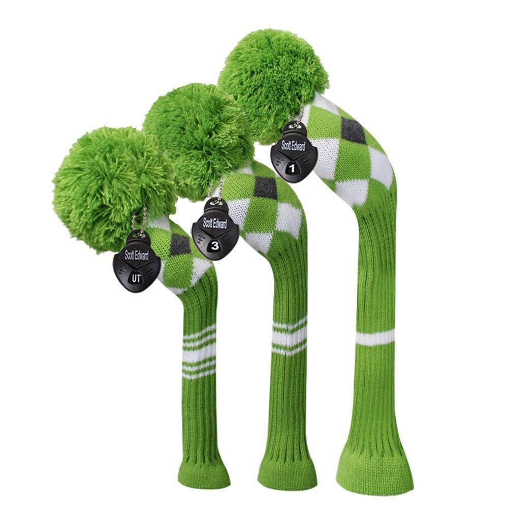 Scott Edward Green Grey White Argyle White Stripes Knit Golf Head Cover Set of 3 for Driver, Fairway, Hybrid/Utilitie