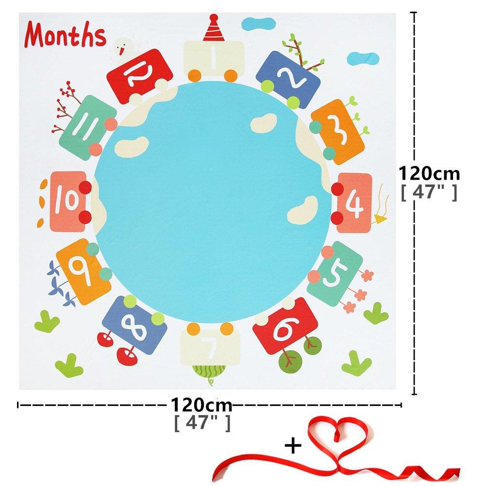 Baby Monatliche Decke Monats Meilenstein Decke Foto Hintergrund Decke ideal babyparty geschenk Weihnachten Babydecke Geschenk 120 x 120 cm voor pasgeborenen