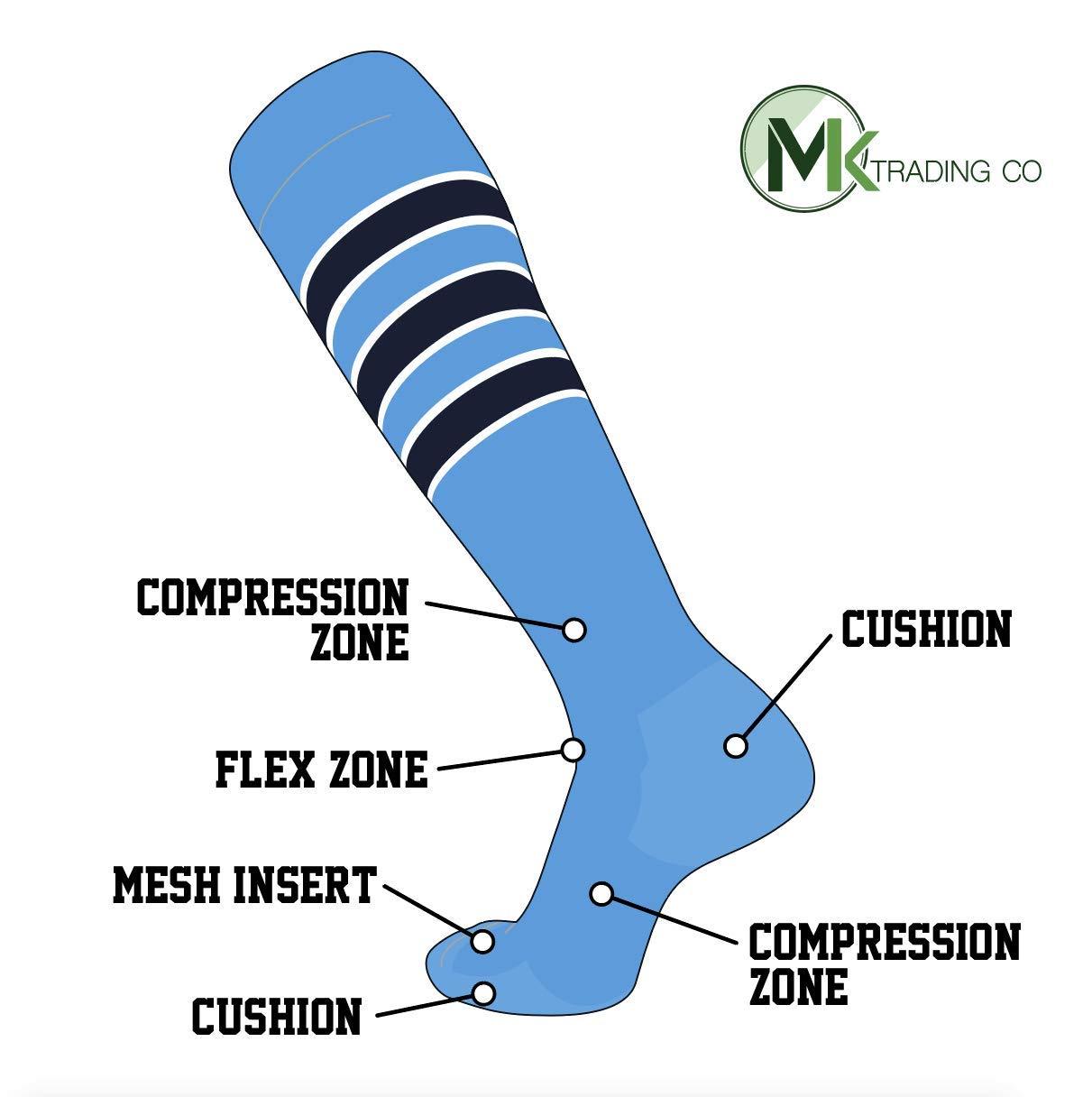 TCK Elite Baseball Football Long Striped Socks (D) Baby Blue, White, Dk Navy (S) by TCK Socks