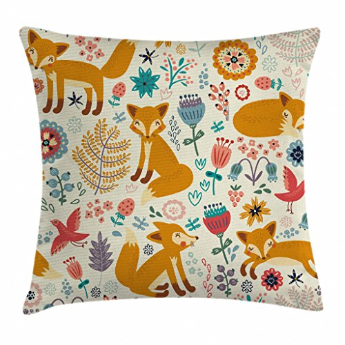 "Ambesonne Fox Throw Pillow Cushion Cover, Natural Wildlife Composition with Foxes Ornate Flowers Flying Birds Kids Nursery, Decorative Square Accent Pillow Case, 18"" X 18"", Cream Orange"