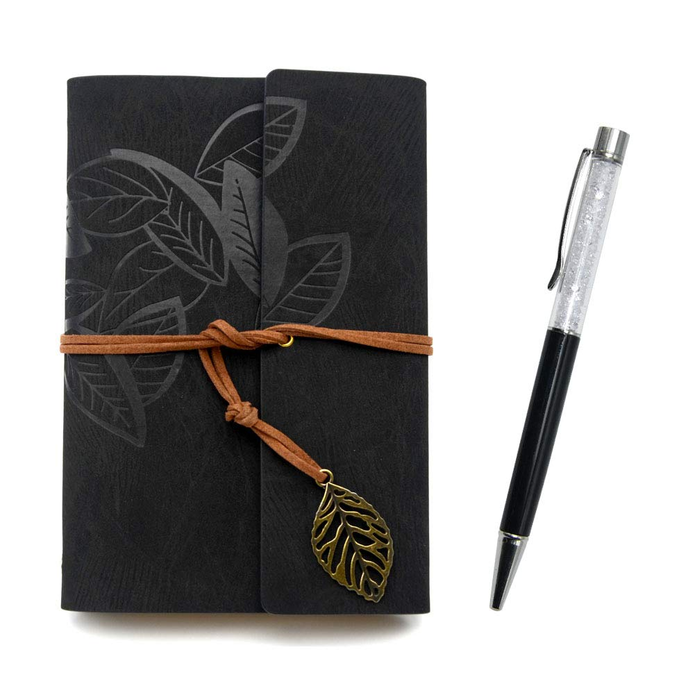 Writing Journals Notebook (Memo Book) Refillable Leather Women's Notebook Journals, A6(7×5inch) Travel Diary, Best Gift for Teens Girls and Boys (Gray-Black,Lined Journals) by Freude