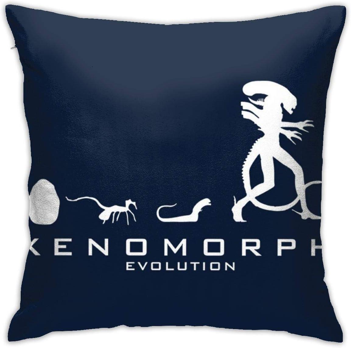 FPDecor Pillow Cases Double-Sided Printing Hidden Zip Pillowcase Xenomorph Evolution Alien Pillowcase Beautiful Printed Pattern Pillowcase 18 * 18inch