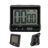 Stonges LCD Numérique Cuisine Grand Chiffre Minuterie Count-Up Up Horloge Alarme Haute Noir Blanc (Noir)