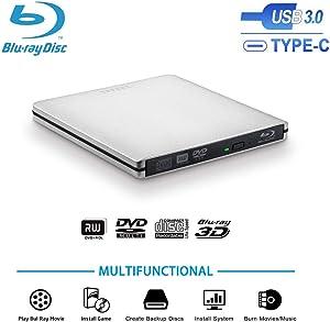TPfeel USB3.0 External Blu-Ray Burner Drive, Aluminum USB CPortable BluRay Writer Reader 3D 6x Slim BD CD DVD Player for Windows XP/7/8/10,Mac OS, Laptop Desktop(Silver)