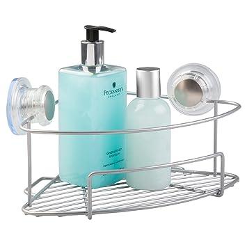 Mueble esquinero baño con ventosas de mDesign color plateado - Sin necesidad  de taladrar c90cc84e621e