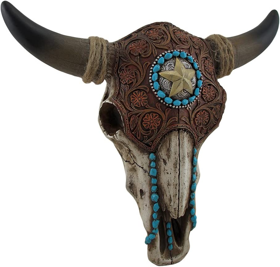 LL Home Bull Skull W Tooled Leather, One Size, Brown