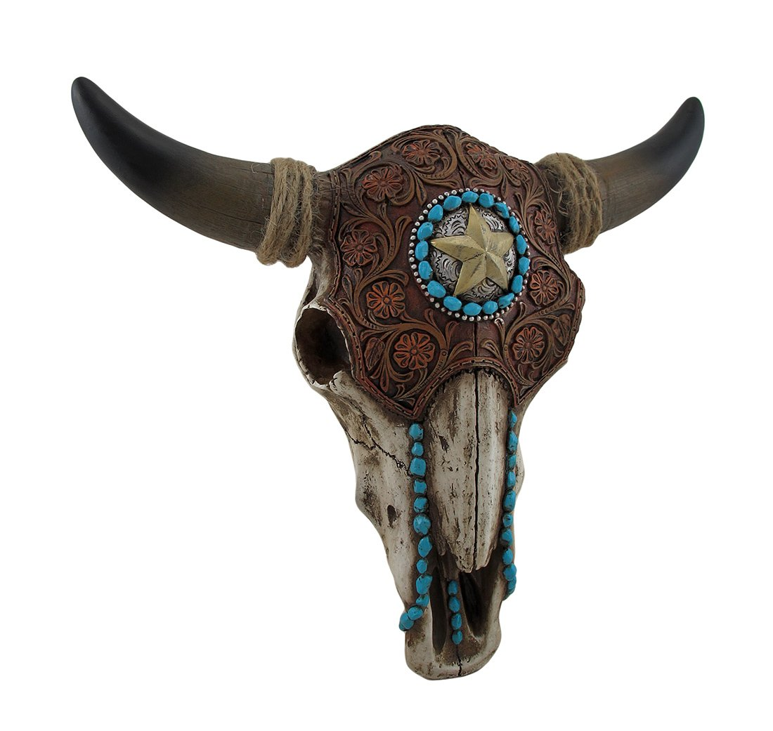 LL Home 12699 Bull Skull Tooled Leather Home Decor, One Size, Brown by LL Home (Image #1)