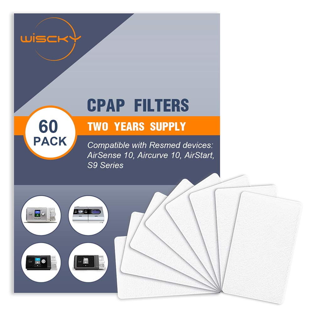 CPAP Filters (60 Pack - Two Year Supply) Disposable Hypoallergenic Filters for ResMed AirSense 10 - ResMed AirCurve 10 - ResMed S9 - AirStart Series CPAP Machines Replacement Filters Supplies