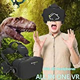 All in One Virtual Reality Headset 1080P HD 360 Degree View 5.5inches Sharp Screen 3D Movie VR Headset with 3D Headphones/HDMI Input - 2GB RAM, Support WIFI/Apps/TF Card Extension [Phone No Needed]