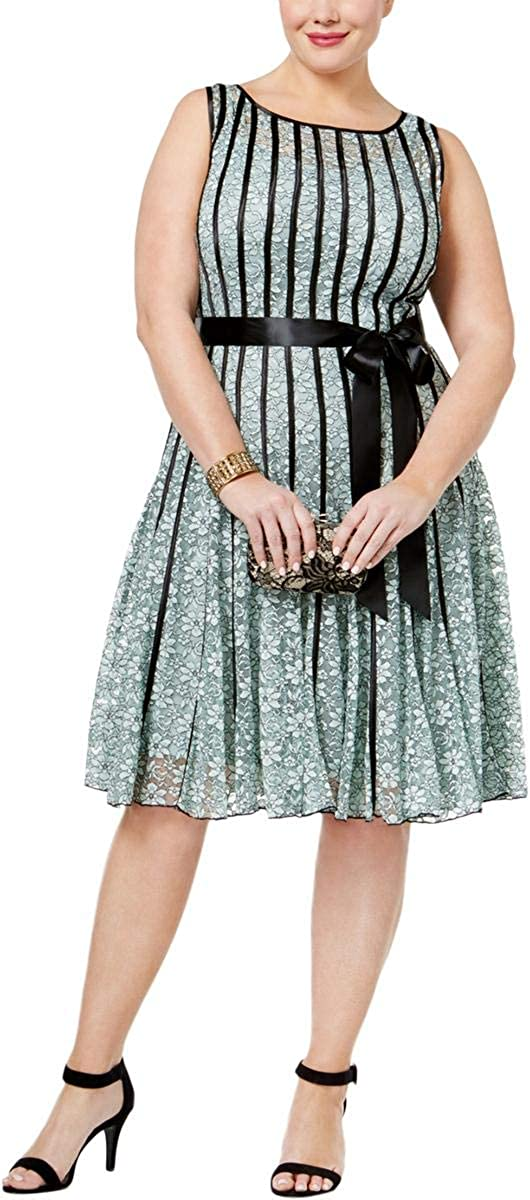 18W Sage//Black Missy and Plus S.L Fashions Womens Size Sleeveless Lace Dress with Satin Strapping