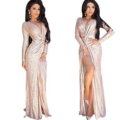 99876a0f2669 Moxeay Women Rose Gold Sequined V-Neck Long-Sleeved High Sliting Long Dress  (
