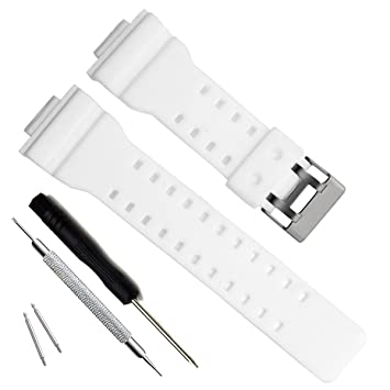 Natural Resin Replacement Watch Band Strap For Casio Mens G Shock Gd120 Ga 100 Ga 110 Ga 100c White
