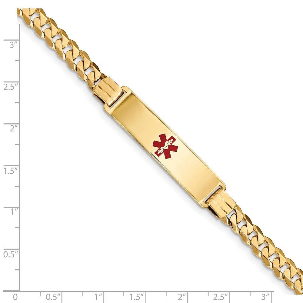 14K Yellow Gold Medical Red Enamel Curb Link ID Bracelet