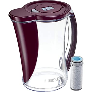 Brita Large 12 Cup Stream Filter As You Pour Water Pitcher with 1 Filter, Cascade - BPA Free - Boudreaux