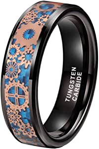 iTungsten 6mm 8mm Silver/Black Tungsten Rings for Men Women Steampunk Gear Wheel Blue Purple Green Red Carbon Fiber Inlay Beveled Edges Comfort Fit