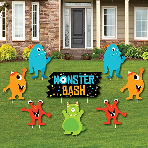 Big Dot of Happiness Monster Bash - Yard Sign & Outdoor Lawn Decorations - Little Monster Birthday Party or Baby Shower Yard Signs - Set of 8 by Big Dot of Happiness