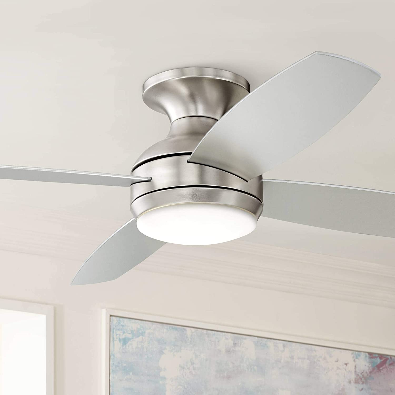 "52"" Casa Elite Modern Hugger Low Profile Ceiling Fan with Light LED Dimmable Remote Control Flush Mount Brushed Nickel for Living Room Bedroom - Casa Vieja"