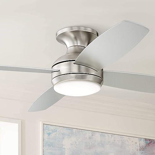 52 Casa Elite Modern Hugger Low Profile Ceiling Fan with Light LED Dimmable Remote Control Flush Mount Brushed Nickel for Living Room Bedroom – Casa Vieja