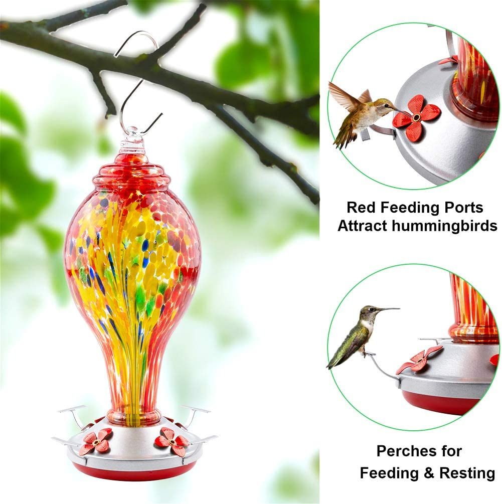 Brush and Service Card Rope Blue WOSIBO Hummingbird Feeder for Outdoors Patio 16 Ounces Colorful Hand Blown Glass Hummingbird Feeder with Hanging Hook