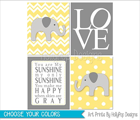 Amazon.com: Yellow gray elephant nursery decor, Gender neutral ...