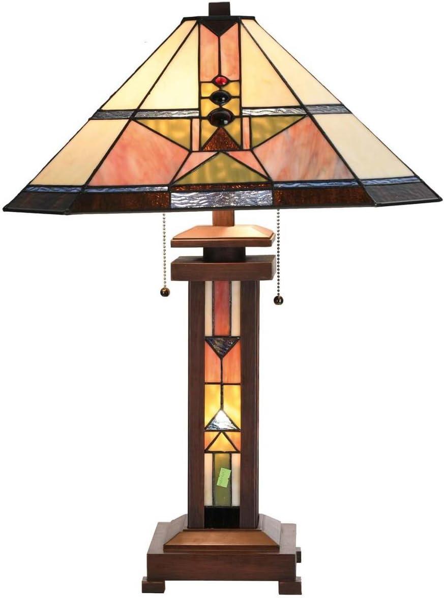 Lumilamp 112LL 111281 Tischleuchte Tischlampe Art Deco Tiffany Stil 112  112 cm  12X E112 max 112w dekoratives buntglas Tiffany Stil