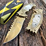 "Best Get Hidden Pocket Knives - 8.5"" GOLD Spring Assisted Open Blade FOLDING POCKET Review"