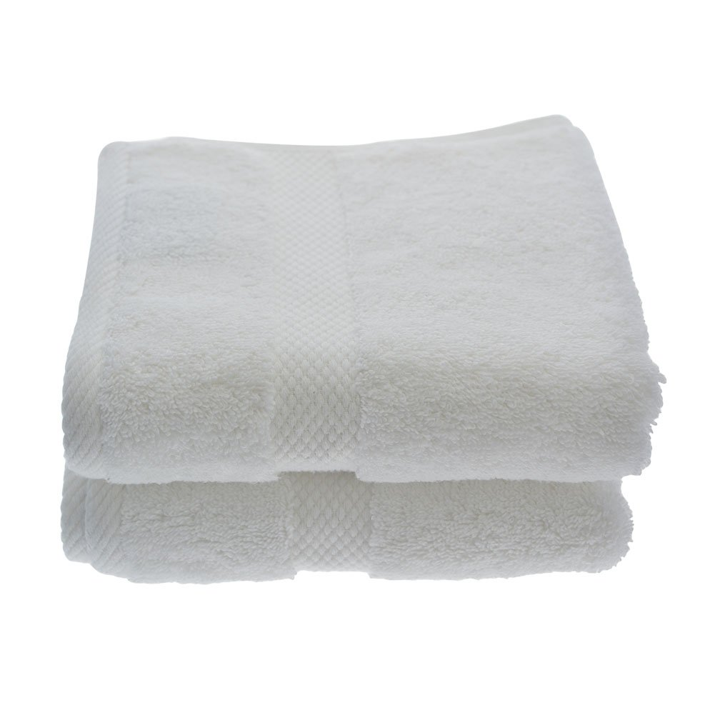 Globaltex Fine Linens 100% Turkish Cotton Sunset Collection & Spa 16''x30'' White Hand Towel Set of 2