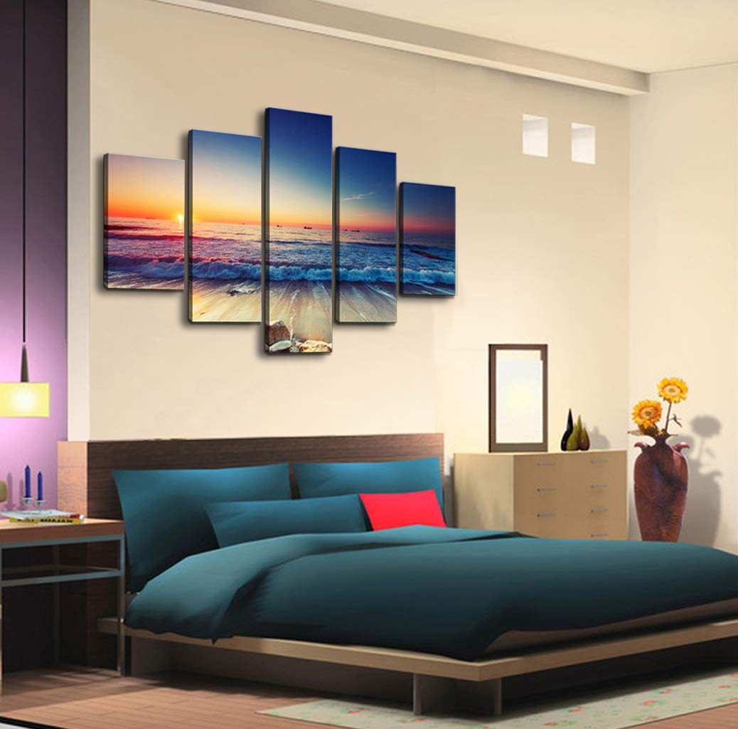 Cao gen decor art as40139 5 panels framed wall art blue ocean sea canvas prints picture seaview pictures painting on canvas modern seascape home office