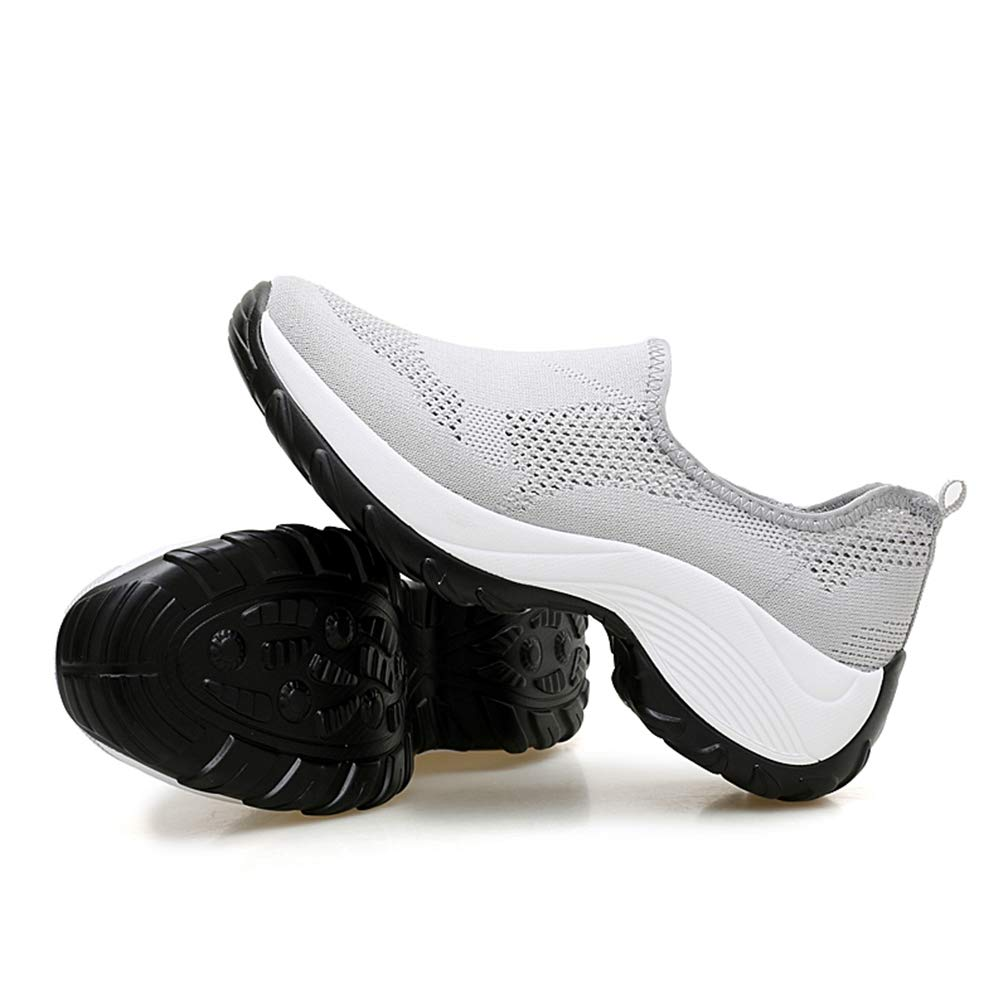 Womens Outdoor Platform Casual Walking Sneakers Breathable Mesh Low-top Slip-On Athletic Shoes