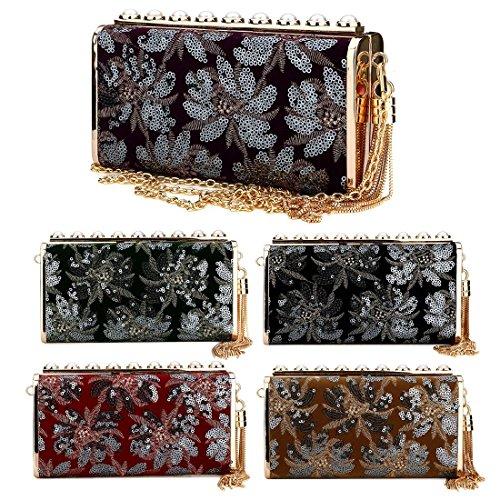 Pearl Designer Women Floral Clutch Evening Bag Evening Sequin Clutch Clutch Red Black Handbag Acrylic Purse Girls for xF8TxqO