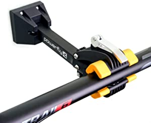 Powerfly Bike Repair Storage Stand - Bicycle Mechanic Rack for Garage or Home - Wall-Mounted Foldable Maintenance Cycle Storage Workstand with Quick Release Adjustment Clamp