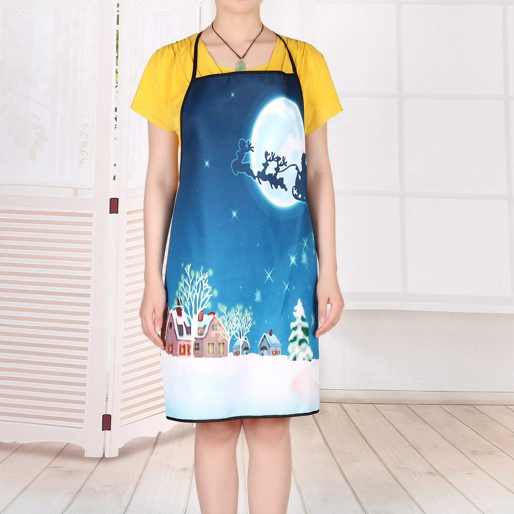 Y56 NO.8 Unisex Merry Christmas Apron for Women Men Party Ornaments Cartoon Print Xmas Decorative Kitchen Chefs Apron for Cooking Baking Crafting BBQ Salon Home Decorations Decors A TM