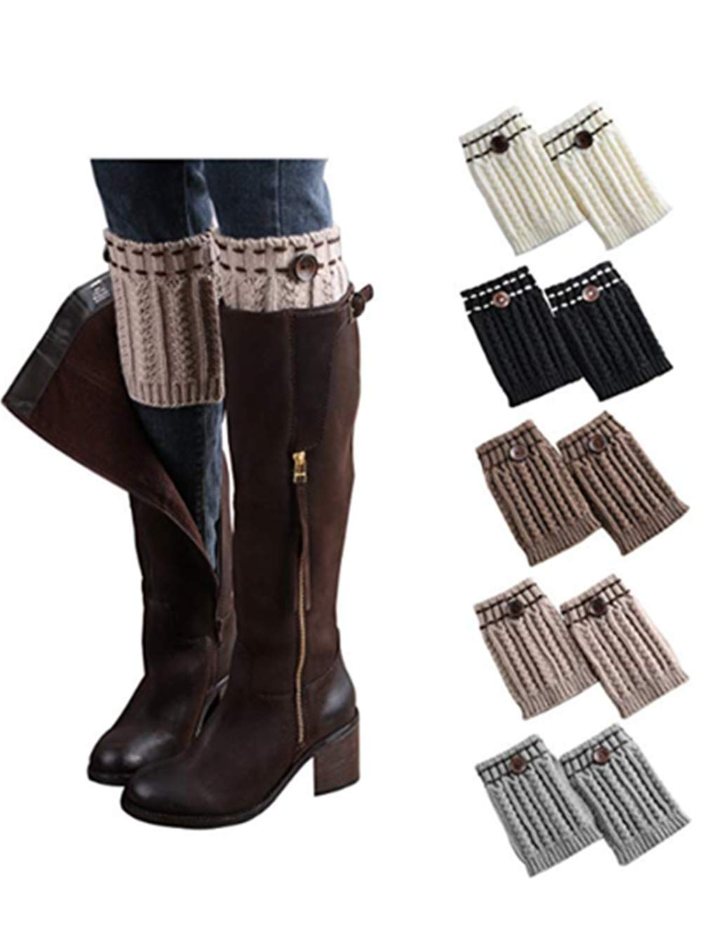 LIWEIKE Womens Short Boots Socks Crochet Knitted Boot Cuffs Leg Warmers Socks (5 Pairs-style B)