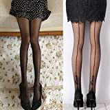 856store Comfortable Women Sexy English Love Letter Tattoo Jacquard Leggings Tights Pantyhose Stockings