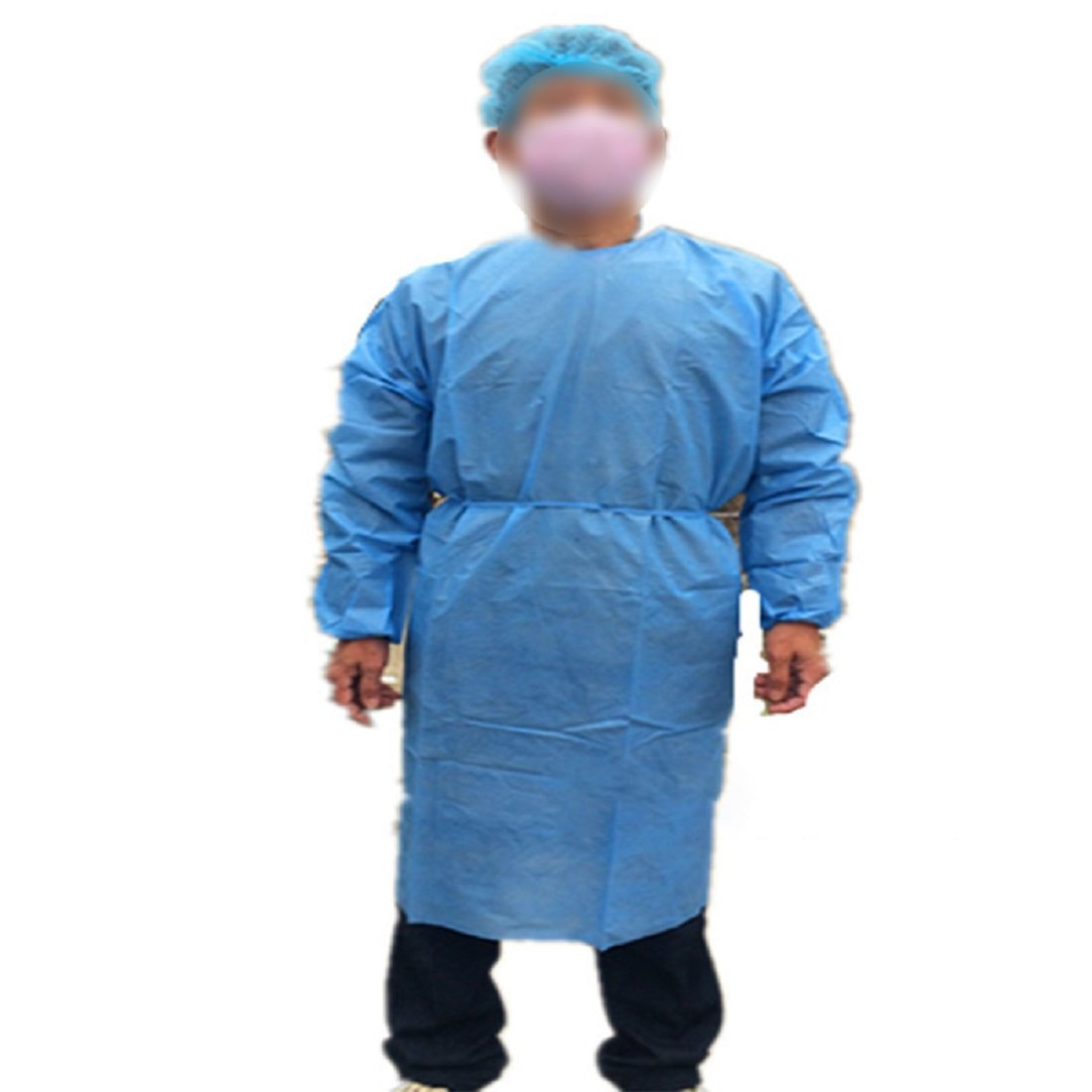 Tinsay Universal Size Blue Disposable Isolation Gowns Disposable Clean Medical Laboratory Isolation Cover Gown Surgical Clothes Pack of 10