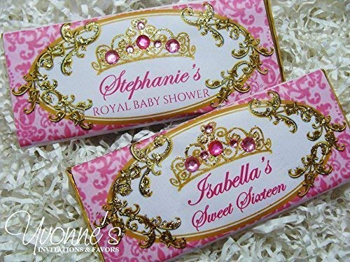 - Princess Candy Bar Wrappers-Personalized Wrappers for Chocolate Bar Favors-Royal Tiara-Pink Fuchsia+Gold-Baby Shower First 1st Birthday, Sweet 16 Sixteen (SET OF 12) **Chocolate Not Included**