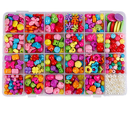 Butterfly Plastic Beads - DIY Beads Set 24 Type Assorted Shapes Colorful Acrylic Plastic Beads for DIY Bracelets,Necklaces, Key Chains and Kid Jewelry