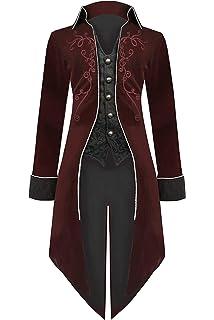 Men Punk Tailcoat Jacket Gothic Victorian Frock Single breasted Coat Oversized E
