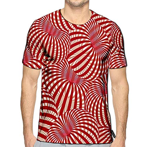3D Printed T-Shirts Abstract in Red and White Optical Illusion Short Sleeve ()