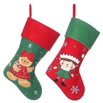 Dibor - Juego de Calcetines de Navidad para Colgar, diseño de Mujer y Elfo con Dibujos Animados: Amazon.es: Hogar