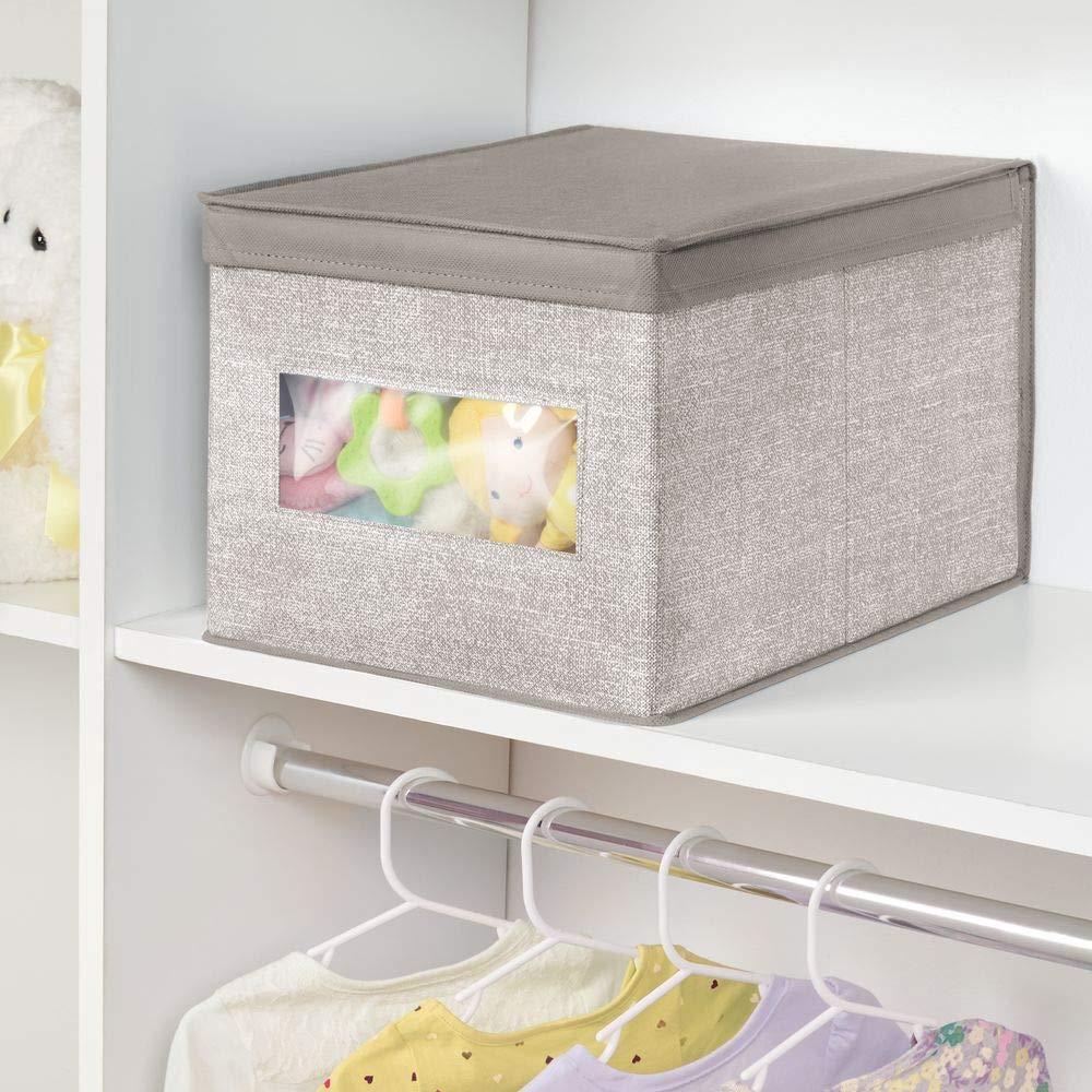 mDesign Caja organizadora con tapa para cambiador - Magnífica caja de tela jaspeada, ideal para organizar armarios, guardar prendas de ropa, ...