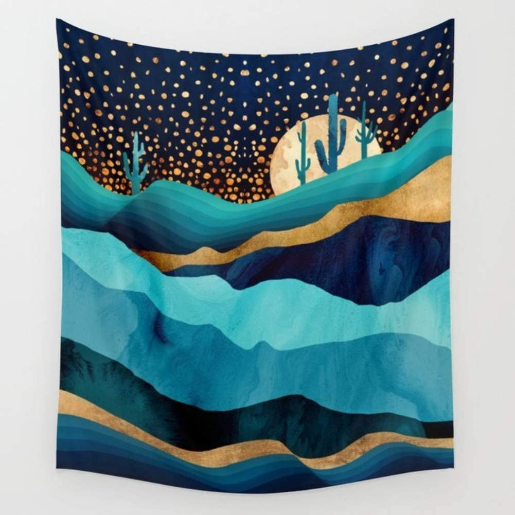 KRWHTS Saguaro Cactus Decor Tapestry, Sun Goes Down in Desert Prickly-Pear Cactus Southwest Texas National Park, Bedroom Living Room Dorm Decor