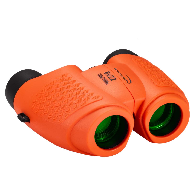 Aurosports Kids Binoculars Auto Focus, Gifts for 4-8 Year old Girls Boys,5-13 Year Old Top Boys Girls Toys for Kids Teen Children Birthday Gifts Orange