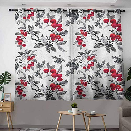VIVIDX Thermal Insulating Blackout Curtains,Rowan Abstract Modern Garden Theme with Artistic Rowan Plant Botanical Pattern Design,Hipster Patterned,W55x39L Ruby Grey Black ()
